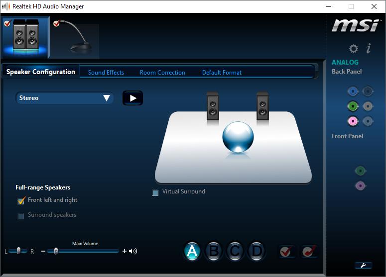 Phần mềm quản lý của chip Realtek trên mainboard MSI