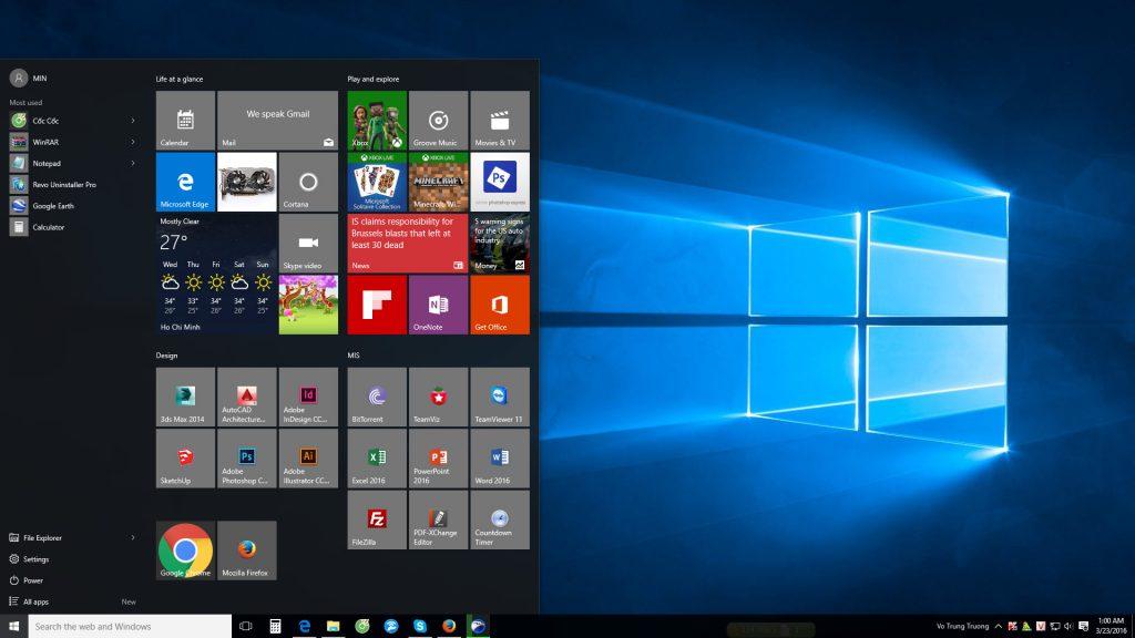 MinUp hiện đang dùng Windows 10 với các phần mềm đồ họa - kiến trúc.
