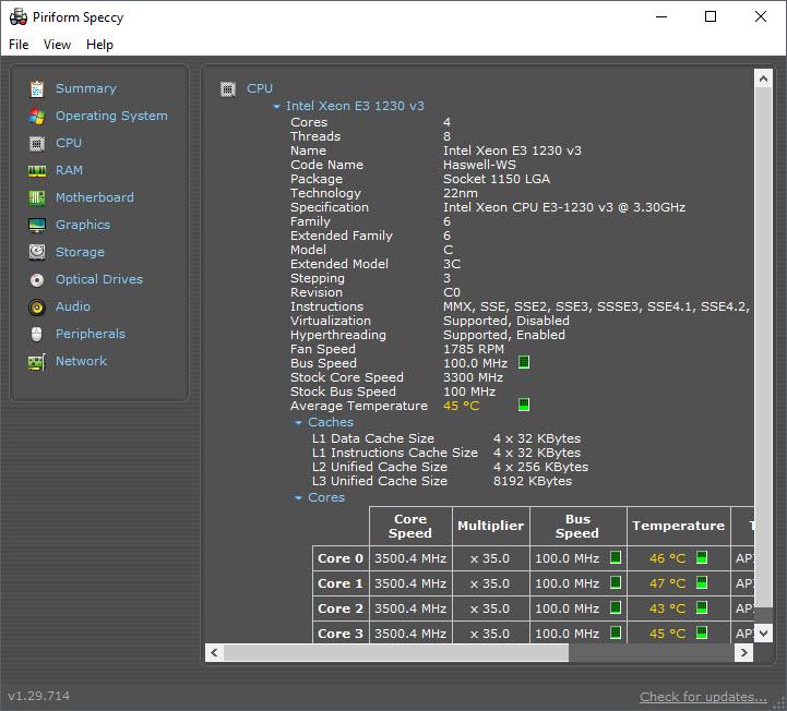 Speccy - xem cấu hình và nhiệt độ máy tính!