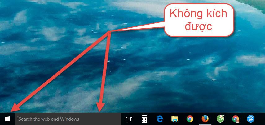 Sửa lỗi không kích được vào Start Menu - Loa - Taskbar ở Windows 10