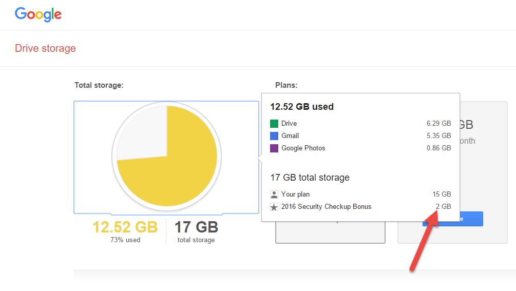 Google Drive tặng thêm 2GB miễn phí.