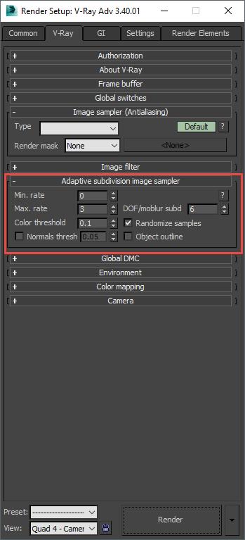 Trình điều khiển Adaptive subdivision sampler vẫn còn khi chọn No