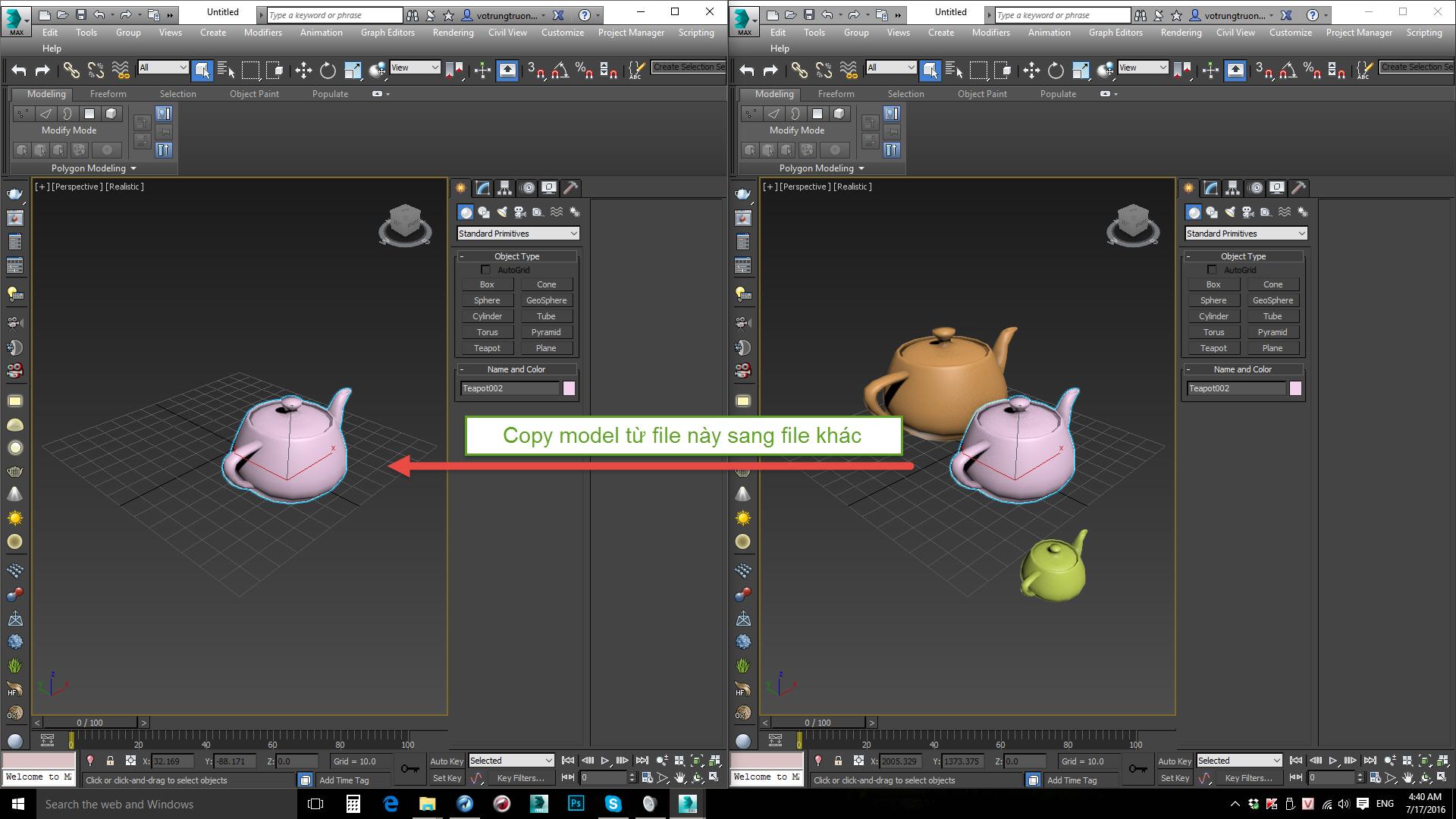 Hướng dẫn cách copy và paste trong 3Ds Max