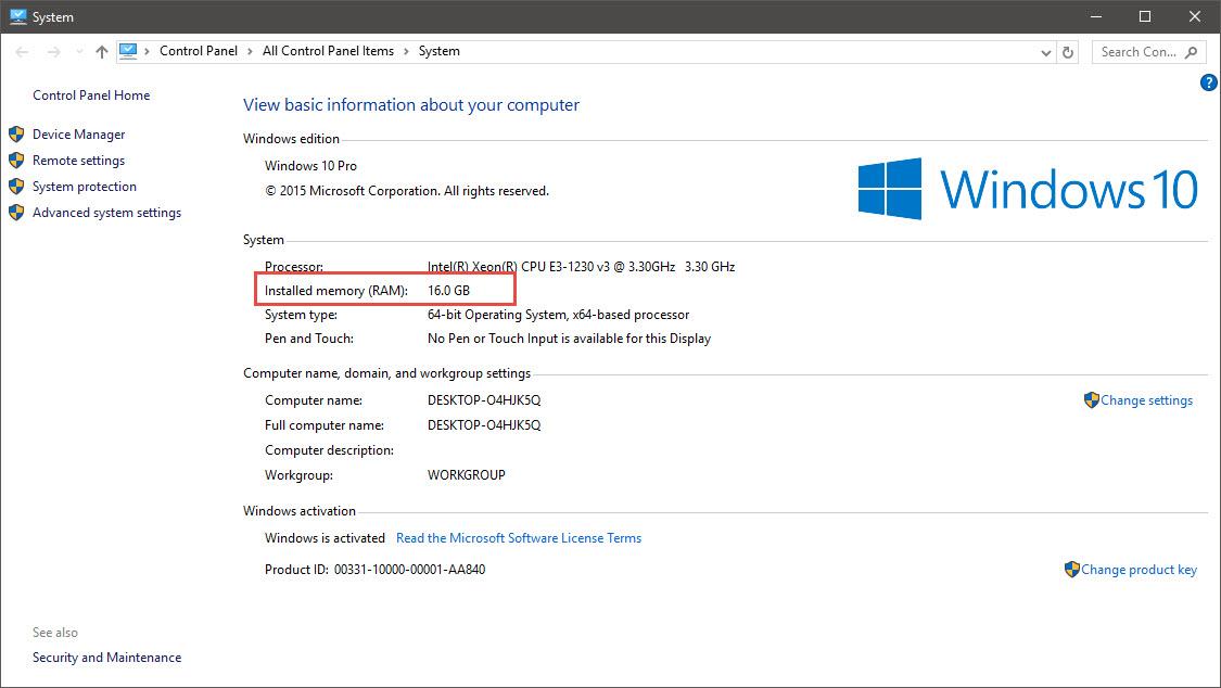 Kiểm tra RAM máy tính nâng cấp lên Windows 10.