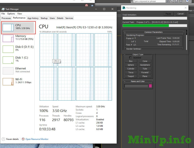 Tắt bớt nhân CPU khi render 3Ds Max.